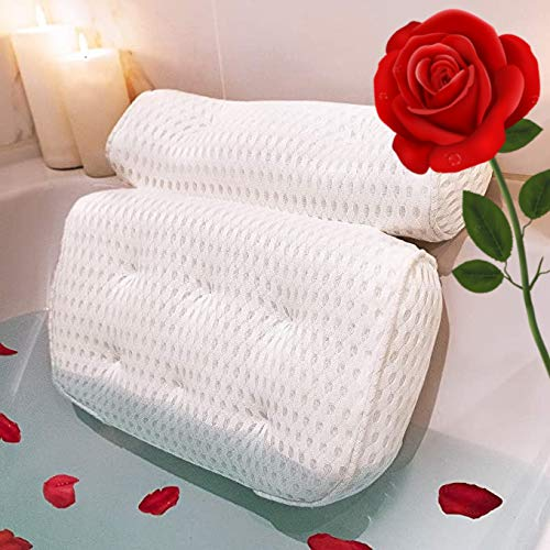 Real Rose Petals with Gift Box Packaging | 8 Suction Cups Quick-Dry Spa Bath Pillow | Bathtub Pillow | Spa Pillow | Bath Tub Pillow | Hot Tub Pillow | Bath Pillows for Tub Neck and Back Support