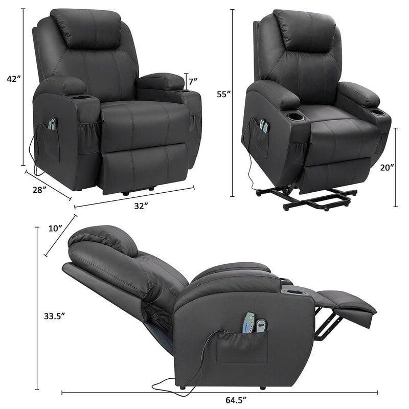 Latitude Run Ergonomic Electric Lift Assist Power Reclining Full Body Massage Chair