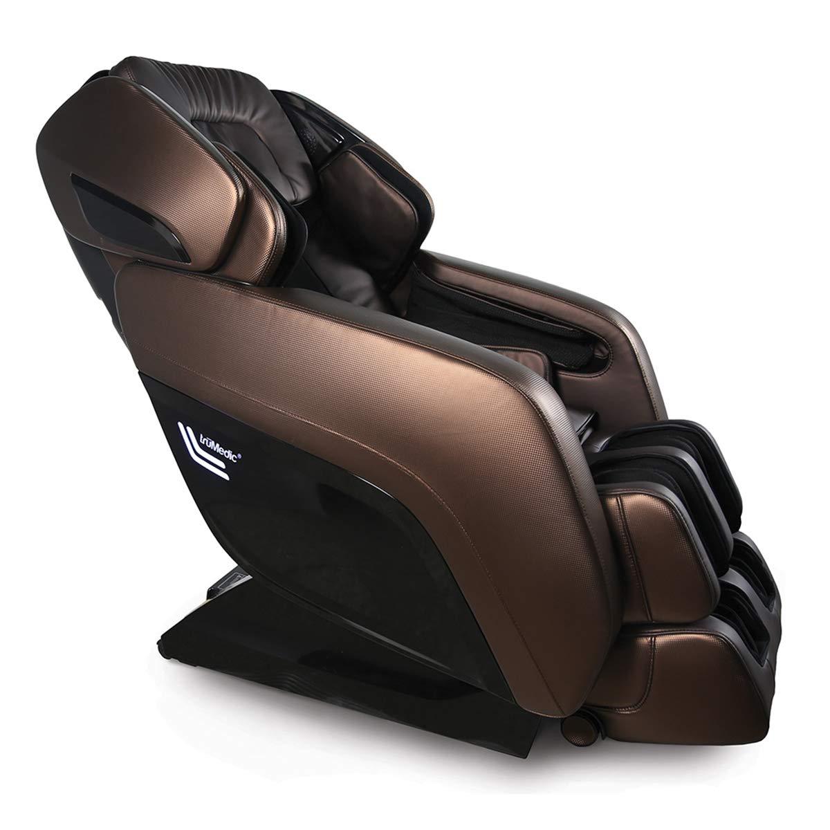 truMedic Instashiatsu 3D Massage Chair with Bluetooth Speaker - Shiatsu Lounge Style Recliner with Axis Rollers, Heated Seat & Zero Gravity Position - Refurbished & Recertified - Brown (MC-2000)